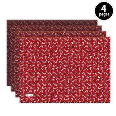 Imagem de Jogo Americano Mdecore Natal Bengala 40x28 cm Vermelho 4pçs