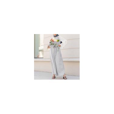 Imagem de Zanzea Mulheres Muçulmanas de Mangas Compridas Xadrez Impresso Vestido Maxi Solto Vestidos de Festa Islâmica de Manga Comprida Branco M