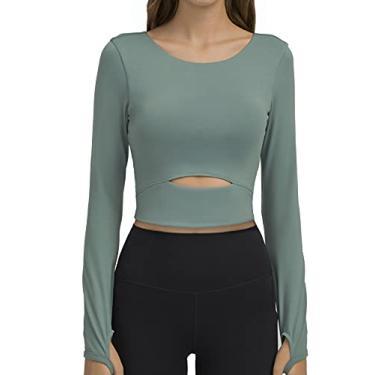 Imagem de Camisetas femininas para treino de ioga, parte superior cropped removível acolchoada de compressão manga comprida fitness atlético yoga esportes, Azul, G
