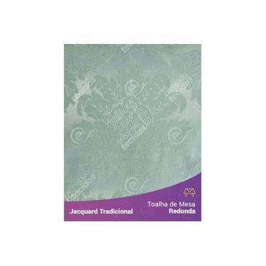 Imagem de Toalha De Mesa Redonda Em Tecido Jacquard Azul Tiffany E Prata Medalhão Tradicional