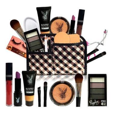 Kit Maquiagem Completo Necessaire Pincel Playboy (PELE MORENA)