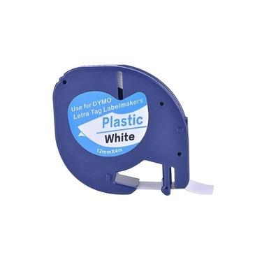 Fita plástica para rotulador Dymo LetraTag 91201 preto sobre branco
