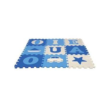 Imagem de Tapete Infantil Eva Vogais Menino Azul - 9 Placas 33x33cm - Nig Brinquedos