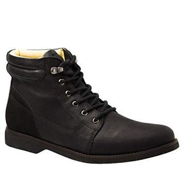 Coturno Masculino Gel Anatômico em Couro Preto Graxo/Nobuck Preto 8615 Doctor Shoes-Preto-43