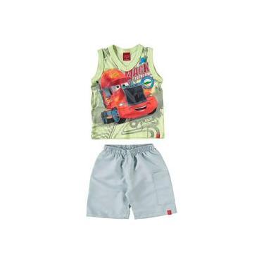 Conjunto Infantil Malwee Camiseta Regata e Bermuda - Em Cotton e Sarja - Disney Carros - Verde e Cinza