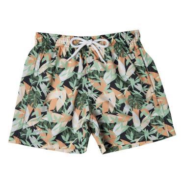 Shorts de praia Mash INFANTIL ESTAMPADO FOLHAGEM Masculino Verde Claro P
