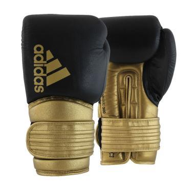 Luva De Boxe Muay Thai Adidas Hybrid 300 Preto/Dourado 10 Oz