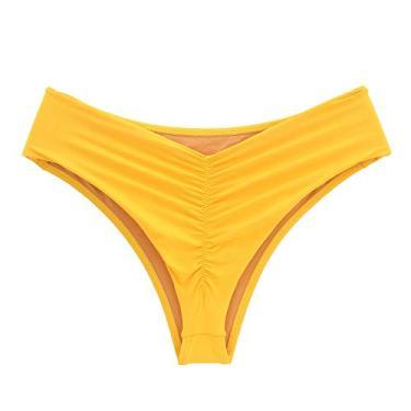 Calcinha de biquíni cintura alta levanta bumbum fio duplo Tamanho:G;Cor principal:Amarelo