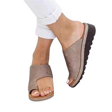 BAIHUAXIN Sandália feminina ortopédica corretora de joanete feminina com chinelo leve, sapatos anabela, sola plana, sapatos de couro sintético