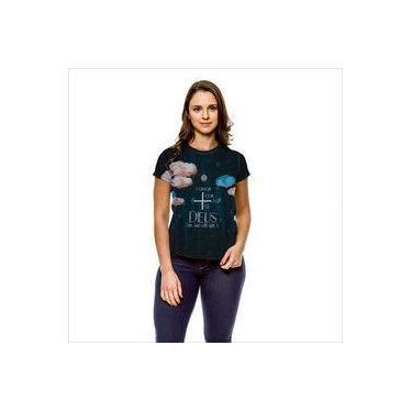 Camiseta Gospel Rosa de Saron Se Cinza Feminina