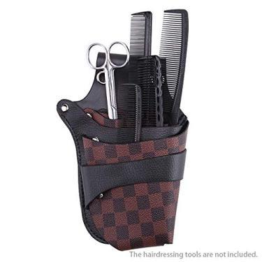 Bolsa de couro PU de couro para barbeiro tesoura de armazenamento para cabeleireiro Bolsa de clipes com cinto de ombro Bolsa de tesoura para cabelo