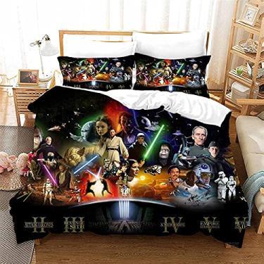 Imagem de JJIIEE Conjuntos de capa de edredom com desenho 3D, conjuntos de cama macios e respiráveis com estampa Star-Wars, conjunto de edredom com tema de filme para crianças e adultos, total de 199 cm × 228 cm