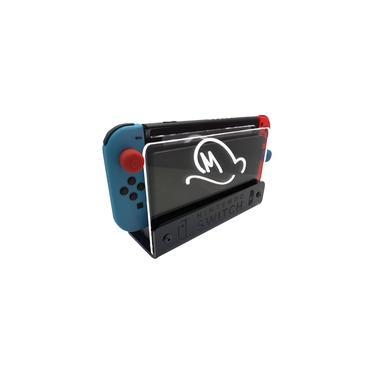 Suporte Bancada/Parede Nintendo Switch Iluminado - Mario Odyssey - Base Preta LED Branco