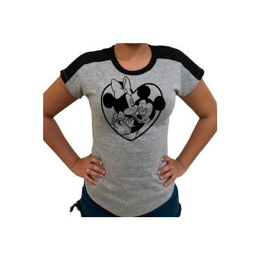 Baby Look Raglan Geek Nerd Coração Mickey Disney 100%Algodão