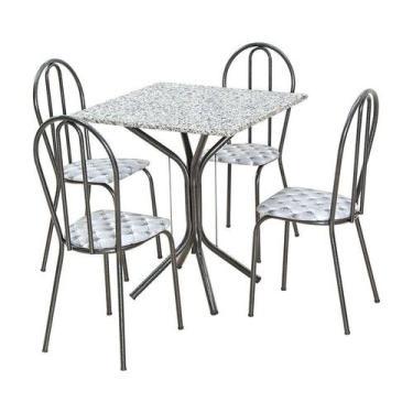 Imagem de Conjunto De Mesa Thais Com 4 Cadeiras Craqueado Preto Capitonê - Artef
