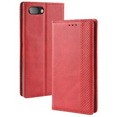 LUSHENG Capa para BlackBerry KEY2, capa flip ultrafina de couro com função de suporte para cartão de crédito, capa interna macia de TPU para BlackBerry KEY2 - vermelha