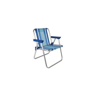 Cadeira de Praia Infantil Alta Alumínio Azul Mor