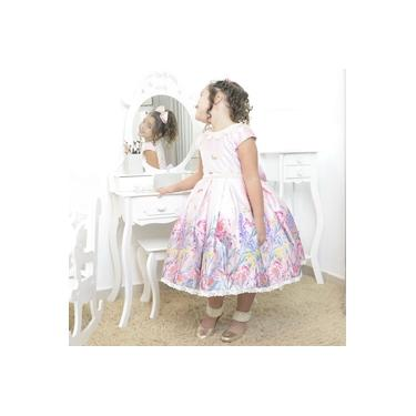 Vestido infantil rosa floral jardim encantado com borboletas