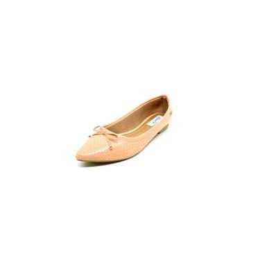 Sapatos Femininos Sapatilha Bico Fino Verniz Salmão Dani K