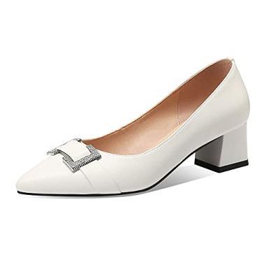 Imagem de TinaCus Sapato feminino de couro genuíno bico fino feito à mão salto grosso moderno com fivela, Branco, 10