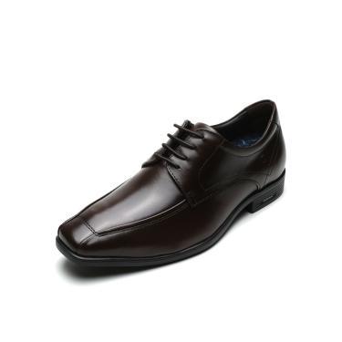 Sapato Social Couro Democrata Liso Marrom Democrata 250101-002 masculino