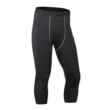 Imagem de ToXodo Calça legging masculina capri 3/4 de compressão esportiva para academia, corrida, secagem rápida, Preto, P