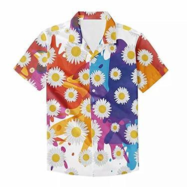 Imagem de Camisa havaiana de manga curta com botões e estampa de margaridas fofas, Azul laranja grafite branco margarida, XG