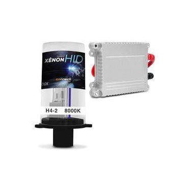 Kit Xênon Moto Completo 9006 H4-2 8000K 35W 12V Lâmpada Tonalidade Azul e Reator Função Anti Flicker