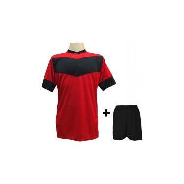 a4b7df7c9c Uniforme Esportivo com 18 camisas modelo Columbus Vermelho Preto + 18  calções modelo Madrid Preto