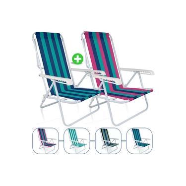 Kit 2 Cadeira De Praia Mor Reclinavel 8 Posições Aço Colorida Sortida