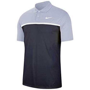 Camisa polo masculina Nike Dri-FIT Victory, bloco de cores, Camisa polo masculina Nike Dri-fit Victory Color-block, Cinza-céu/obsidiana/branco/branco, Small