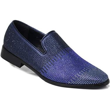 ARK1 Vestido masculino vintage acetinado sedoso floral fashion mocassim sem cadarço smoking formal sapato designer, Blue (29), 13