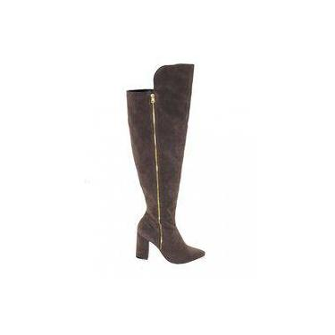 417b179a3 Bota Feminina Over The Knne Salto Alto Bloco Lia Line