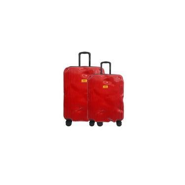 Kit Malas Bordo e Media Up4You Rigidas Imitam Amassado - TSA Rodas 360 - Vermelho MF10230