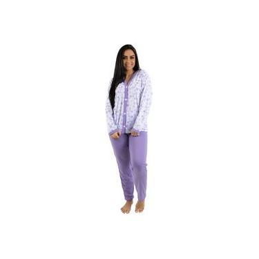 Pijama Longo Adulto Feminino Blusa Aberta Botões E Calça Lilás
