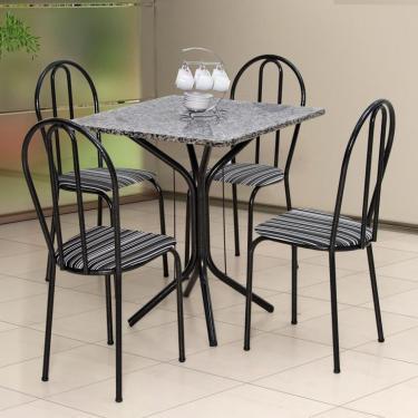 92ab07926 Conjunto de Mesa com 4 Cadeiras Thais Craqueado Preto Listrado Branco e  Preto