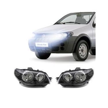 Farol Fiat Strada 2001 a 2004 Arteb Principal Máscara Negra Canhão Cromado Foco Duplo Encaixe H3 H7