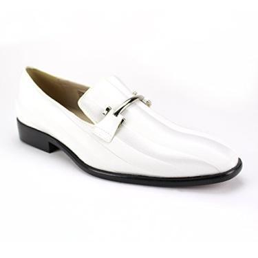Sapato social masculino Expressions 6757 de cetim listrado e sem cadarço da RC Roberto Chillini, Branco, 7