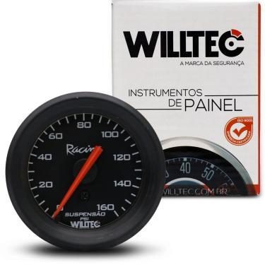 Imagem de Manômetro Relógio 52mm 160PSI Suspensão a Ar Universal Preto Willtec