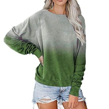 Blusa feminina de moletom com gola redonda e manga comprida, cor degradê da KLJR, Verde, 3XL