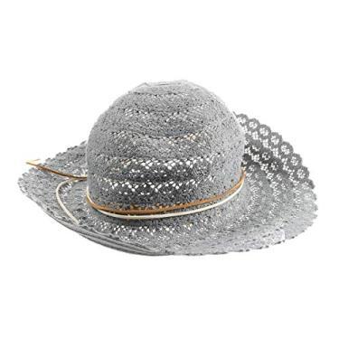 Chapéu de praia vazado de renda dobrável para atividades ao ar livre verão feriado sol aba larga chapéu chapéu balde (cinza)