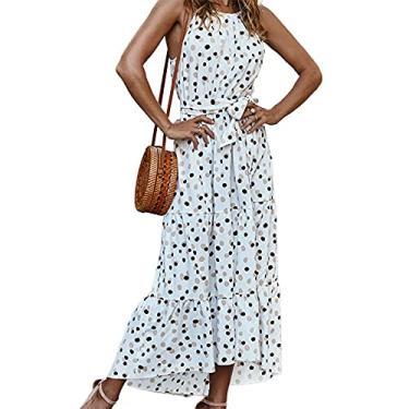 Imagem de maiduoduo01 Vestido floral para mulheres, estampa de bolinhas, barra com babados, frente única, sem mangas, vestido midi para férias, branco cremoso, GG