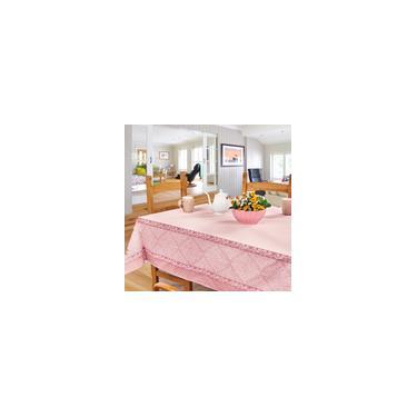 Imagem de Toalha de Mesa Retangular 6 Lugares para Cozinha e Sala Jantar Estampado Arabescos Rosa 140x210
