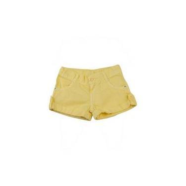 Shorts Infantil De Tela Tinturada - Amarelo