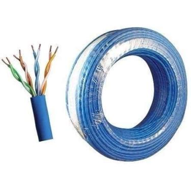 Cabo De Rede Internet Cftv 100m Cat5e Azul Alta Qualidade