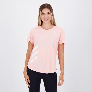 Camiseta Adidas Run IT 3S Feminina Rosa - P