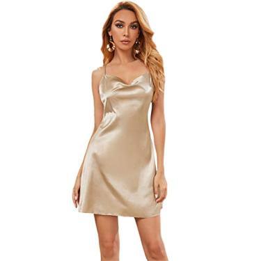 SOLY HUX Vestido feminino curto de cetim com alças finas e gola drapeada, Dourado, XS