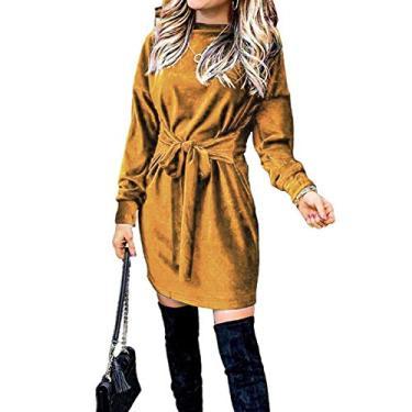 Imagem de bjlongyi Vestido de moletom feminino com gola redonda, manga comprida, cor lisa, cinto de veludo, vestido solto, moderno, simples, dourado, P