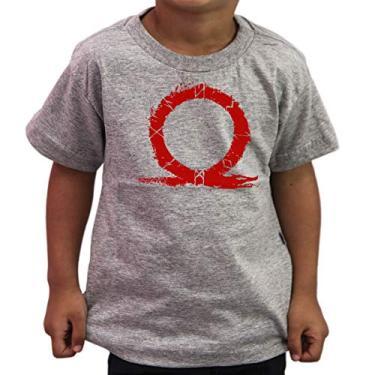 Camiseta Infantil Geek God Of War 4 Kratos Titans Gaia Gamer Cor:Cinza;Tamanho:4