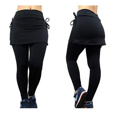 Calça Legging Saia Tapa Bumbum Cintura Alta Feminina Plus Size Fitness e Academia Todos os Tamanhos (G1, Preto)